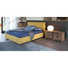 Devina Nais Imbottito Kris Upholstered double bed with or without container covered in fabric Quadra