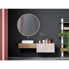 Devina Nais Composizione B05 Bathroom composition - suspended base 1 drawer + suspended base 2 wooden doors with white ceramic sink and mirror
