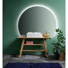 Devina Nais Composizione B02 Bathroom composition - wooden base + white ceramic sink + mirror