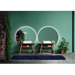 Devina Nais Composizione B01 Bathroom composition - 2 wooden bases + 2 white ceramic sinks + 2 right mirrors sx