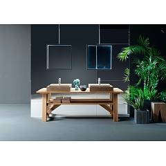 Devina Nais Composizione B03 Bathroom composition - 1 wooden base + 2 washbasins in ebony finish marble