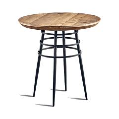 Dialma Brown Db004554 Fixed round table d. 70 - metal structure with burnished iron finish with natural solid wood top