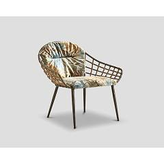 Dialma Brown Db006167 Armchair - painted metal structure with woven rattan back and seat upholstered in tropical velvet