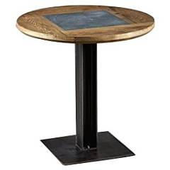 Dialma Brown Db004192 Fixed round table d. 80 with burnished metal structure and wooden top with marble insert
