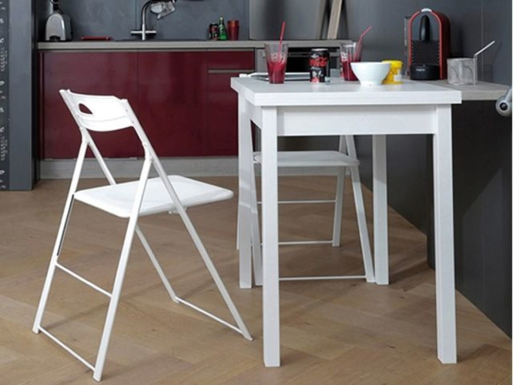 Domitalia Hot M Extendable Table 80 X 60 Cm With White Wooden Structure And White Melamine Top Book Opening Vieffetrade