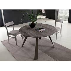 Easyline Convivio Round extendable table with metal frame and eco wood top