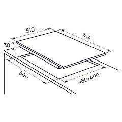 Electrolux PX750UV hob - technical drawing