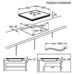 Electrolux KT6400X hob - technical drawing