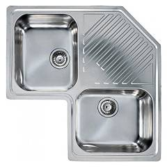 Elleci Lircoranc - River Corner - Antigraffio Sink recessed stainless steel mm 830 x 830 2 bowls - 1 drainer - angle River