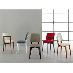 Eurosedia Karen Chair in wood and fabric / eco-leather