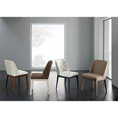 Eurosedia Veronica Chair in wood and fabric / eco-leather