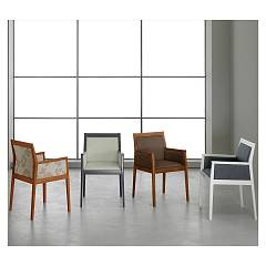 sale Eurosedia Altea 059 Chair In Wood And Fabric / Leather