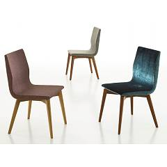 Eurosedia Cassandra Chair in wood and fabric / eco-leather