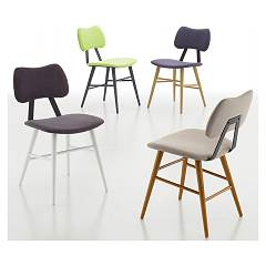 Eurosedia Jò 209 Chair in wood and fabric / eco-leather