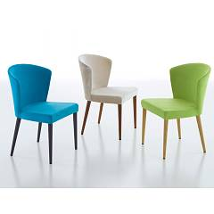 Eurosedia Karol Chair in wood and fabric / eco-leather