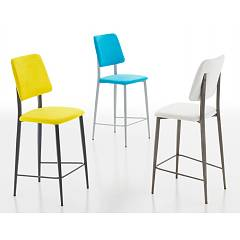 Eurosedia Patty 205 Stool in metal and fabric / eco-leather