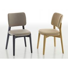Eurosedia Tecla 201 Chair in wood and fabric / eco-leather