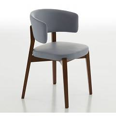 sale Eurosedia Tecla 203 Chair In Wood And Fabric / Faux Leather