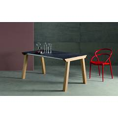 Eurosedia Genius Extendable table with wooden structure and melamine top laminate | glass