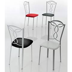 Eurosedia Diva 807 Chair in metal and fabric / eco-leather