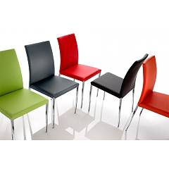 Eurosedia Ela 274 Chair in metal and leather / eco-leather