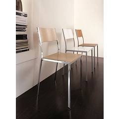 Eurosedia Moira Metal chair with wood sitting