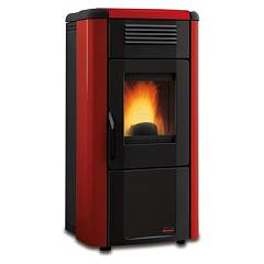 Extraflame Nordica Viviana Plus Evo Pellet stove forced ventilation 10.3 kw canalized - bordeaux steel cladding