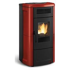 Extraflame Nordica Novella Plus Evo Pellet stove forced ventilation 10.2 kw canalized - bordeaux majolica coating