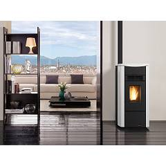 Photos 2: Extraflame Nordica GIUSY EVO Pellet stove with forced ventilation 7,0 kw bordeaux - steel covering top in majolica
