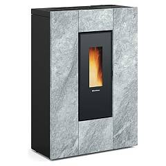 "Extraflame Nordica Marilena Plus Ad - Pietra Naturale ""narrow"" pellet stove, ducted 23.2 kw - 665 m³ heated - natural stone - glass coating"