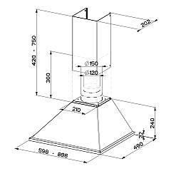 Faber SYNTHESIS X A90 Wall hood cm. 90 - inox - technical drawing