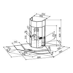 Faber PREMIO CORNER / SP Corner hood cm. 90x90 - stainless steel / glass - technical drawing