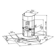 Faber PREMIO CORNER / SP Corner hood cm. 100x100 - stainless steel / glass - technical drawing