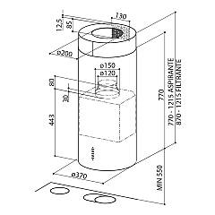 Faber CYLINDRA EV8 X Island hood cm. 37 - stainless steel - technical drawing