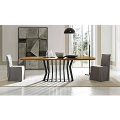 Fgf Glamour Fixed / extendable table with anthracite metal structure and solid wood top