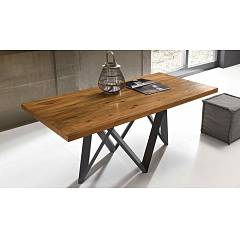 Fgf Twist Fixed / extendable table with anthracite metal structure and solid wood top