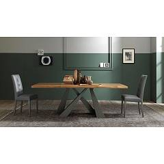 Fgf Victory Fixed / extendable table with anthracite metal structure and solid wood top