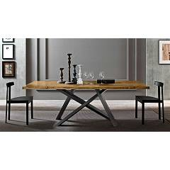Fgf Outlet Crossing extendable table 200x100 (+60) with anthracite metal structure and solid wood groove top - slight scratches on the base