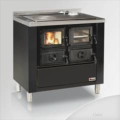Focus Rio 80 Cooking wood hot air convection natural 9 kw - black exhaust fumes top right