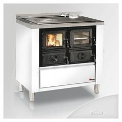 Focus RIO 80 Wood stove hot air natural convection 9 kw - white exhaust fumes upper right