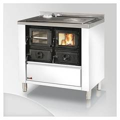 Focus RIO 80 Wood stove hot air natural convection 9 kw - white exhaust fumes left upper