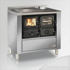 Focus RIO 90 Wood stove hot air natural convection 9 kw - stainless steel exhaust fumes upper right