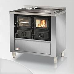 Focus RIO 90 Wood stove hot air natural convection 9 kw - stainless steel exhaust fumes left upper