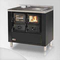Focus RIO 90 Wood stove hot air natural convection 9 kw - black exhaust fumes left upper