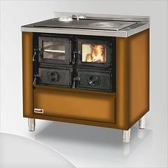 Focus RIO 90 Wood stove hot air natural convection 9 kw - gradient brown exhaust fumes left upper
