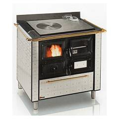 Focus CUCINOTTA 1 Wood stove hot air natural convection 9 kw - white exhaust fumes upper right handrail brass