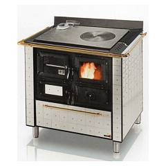 Focus CUCINOTTA 1 Wood stove hot air natural convection 9 kw - white the exhaust fumes left upper handrail brass