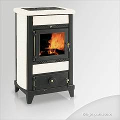 Focus REGINA Wood stove hot air natural convection 8 kw - beige tiled coating