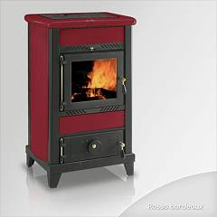 Focus REGINA Wood stove hot air natural convection 8 kw - bordeaux tiled coating