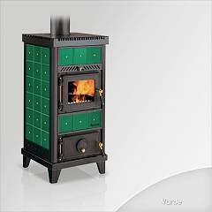 Focus NIDO 1 Wood stove hot air natural convection and 6 kw - green the ceramic coating